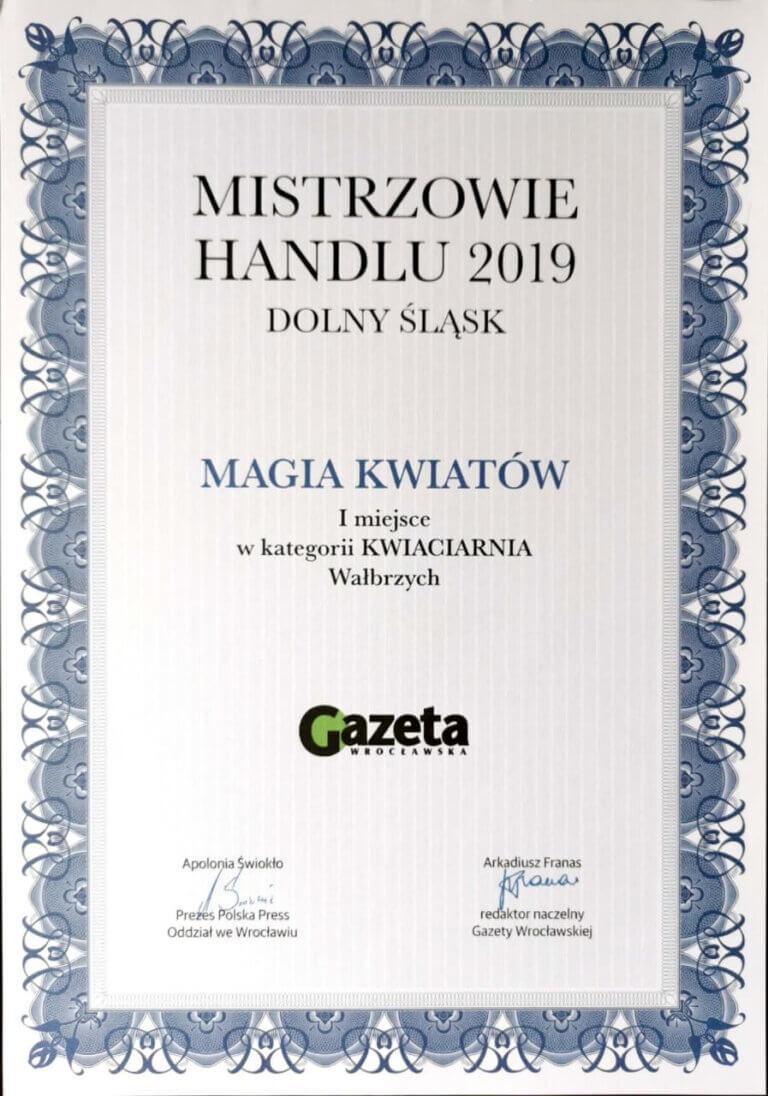 Dyplom Mistrzowie Handlu 2019 Magia Kwiatów